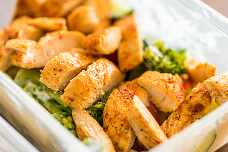 Fitness Meal Lunch Grilled Chicken Steak in Plastic Box