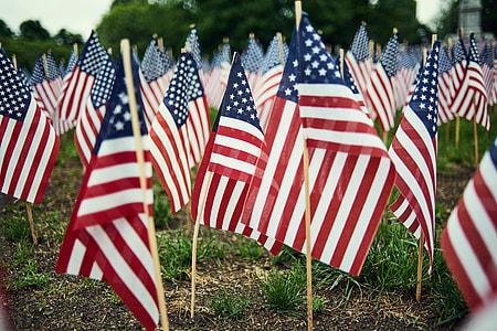 USA flag lot during daytime
