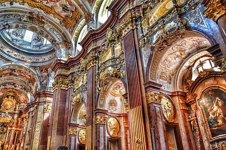 baroque church, collegiate church, church, melk, austria, hdr