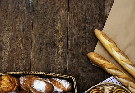 Stick Breads on Wooden Plank