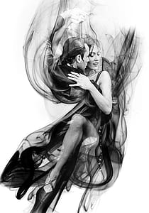 man and woman dancing illustration