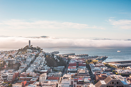 San Francisco Bay Panorama With Coit Tower