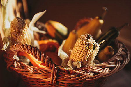 Closeup shot of a basket of vegetables