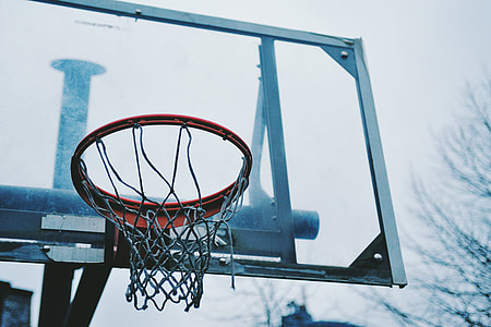 Closeup shot of an urban basketball hoop