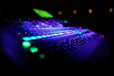 Closeup shot of audio musicmixing equipment