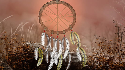yellow, white, and brown dreamcatcher