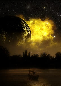 silhouette of building and trees with exploding star background