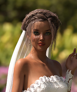 doll in white wedding dress with veil in close up photography