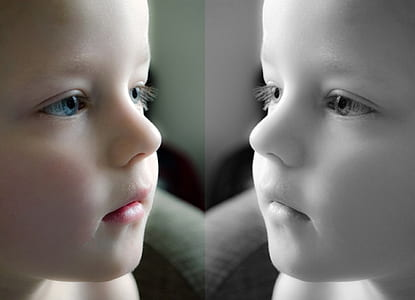 collage photo of toddler's in colored and black and white