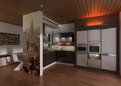 white kitchen with Empire State building painting