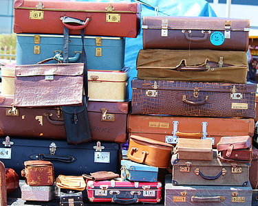 brown and black leather hard case lot