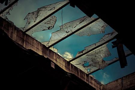 broken glass ceiling roof