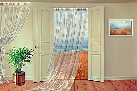 curtain on door 3D perspective view
