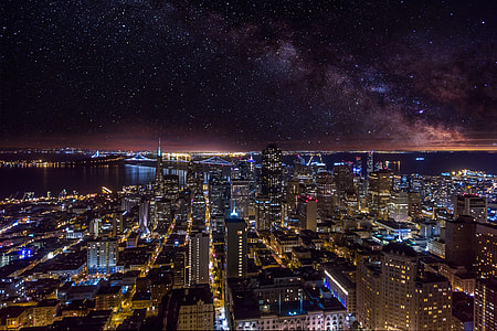 Cityscape of San Francisco under the stars at night