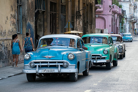 Classic cars on the streets of Havana in Cuba