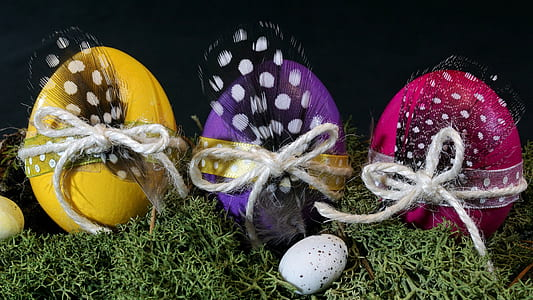 three assorted easter eggs