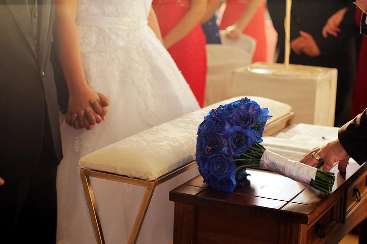 A wedding couple in a church