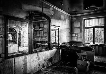 grayscale photography inside house