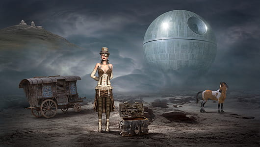 woman standing beside chest box with Star Wars Death Star background digital wallpaper