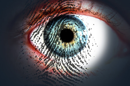 closeup photo of fingerprint with eye iris, eye pupil, and eye cornea