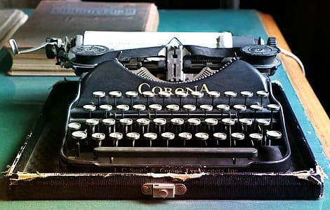 black Corona brand type writer