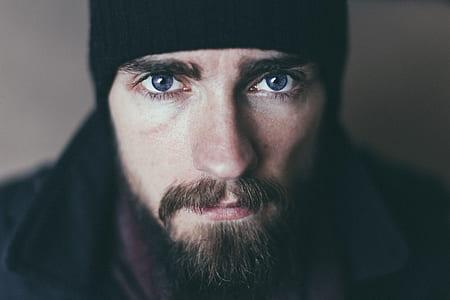 Bearded Man Wearing Black Knit Cap