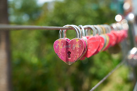 selective focus photography of heart-shaped red padlock