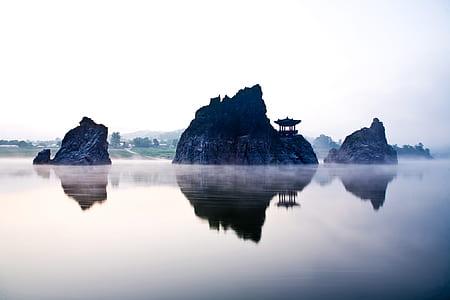 section, water, lake, sky, fog, rock