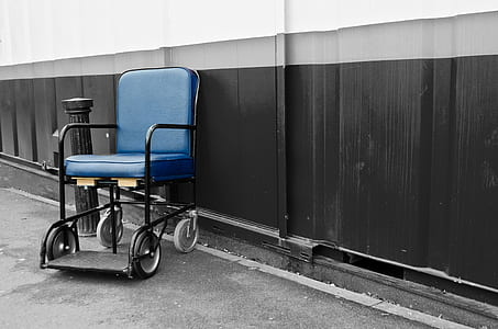 empty blue and black transit wheelchair