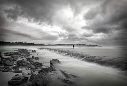grayscale photography of seaside
