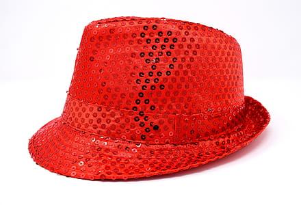 red sequin fedora hat