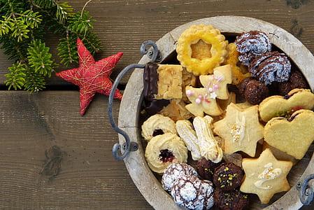 cookies on brown basket