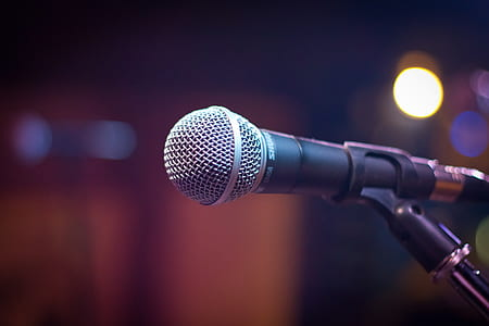close up photo of black and gray corded microphone
