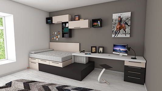 black and white wooden storage bed fframe