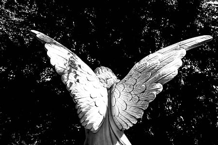 greyscale photography of female angel statue
