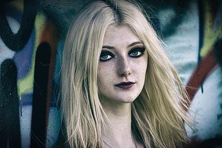 blond haired female illustration