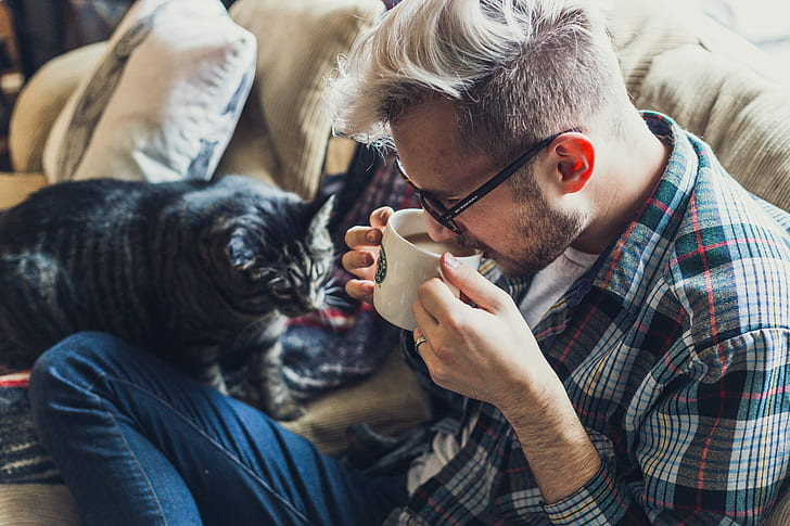 man drinking coffee near gray Tabby cat