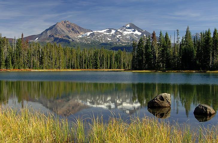 two stones on lake