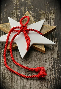 two brown and white star decors