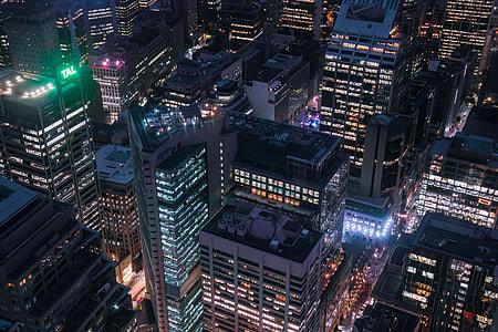 Aerial shot of city buildings at night