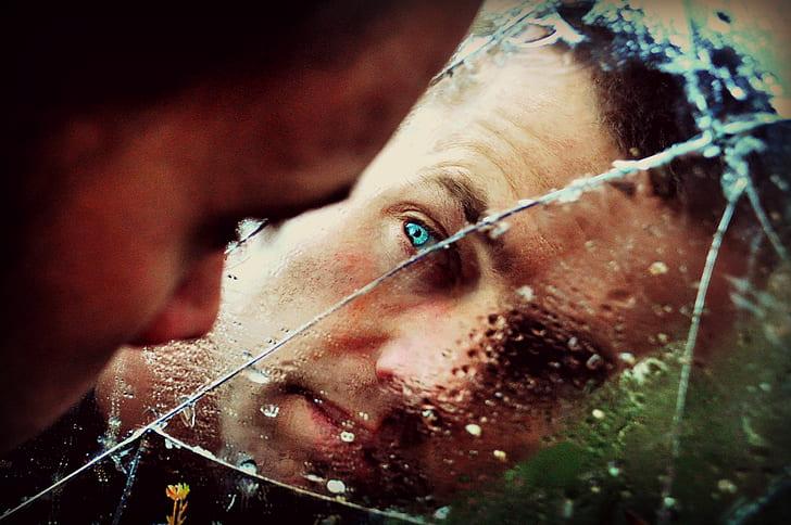 Blue Eyed Man Staring at the Mirror