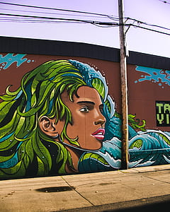 Woman With Blue and Green Haired Wall Painting