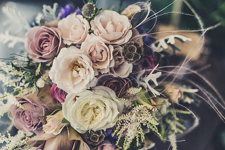photo of pink, white, and purple rose flower bridal bouquet
