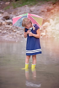 girl wearing blue dress and holding umbrella