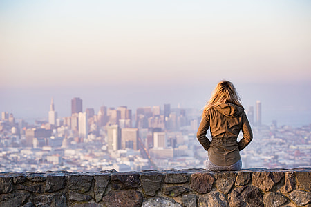 Young Girl Enjoying Moment and Looking Over the San Francisco