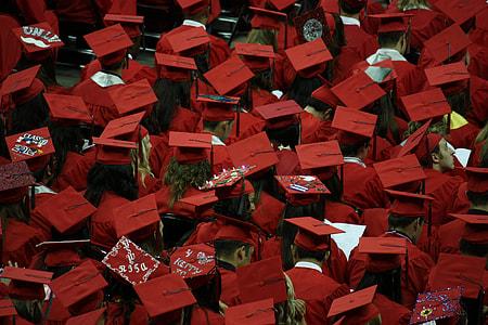 crowd of people wearing red mortar board