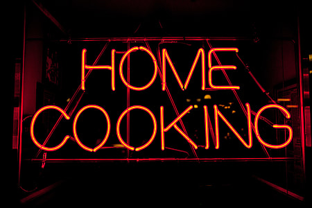 Neon 'home cooking' sign, image captured in New York City with a Canon 5D DSLR