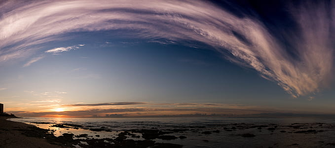 360 photography of clouds and seashore