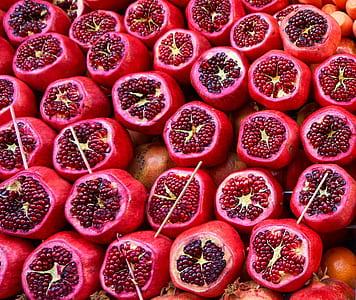 sliced pomegranates