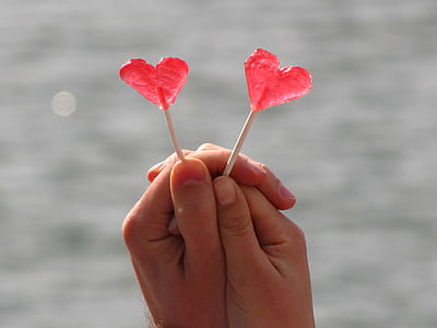 person holds heart-shaped candy pops